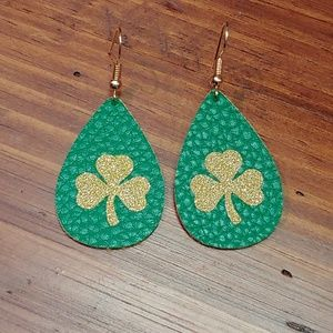 St. Patrick's Day Faux Leather Earrings